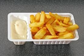 chips and mayonnaise... don't knock it 'til you try it. Tartarre sauce is even better.