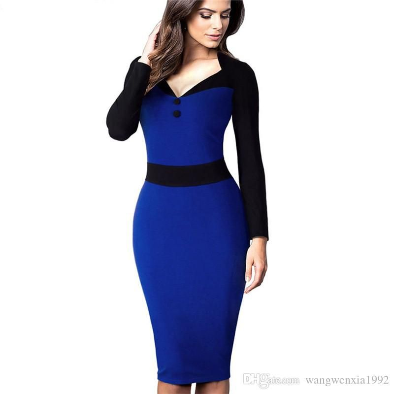2017 Spring Autumn Fashion Womens Office Work Casual Party Sexy V Neck Buttons Long Sleeve Sheath Bodycon Pencil Dress Patchwork Midi Dress Womens Midi Dress Sheath Boydcon Dress Long Sleeve Dress Online with $18.74/Piece on Wangwenxia1992's Store | DHgate.com