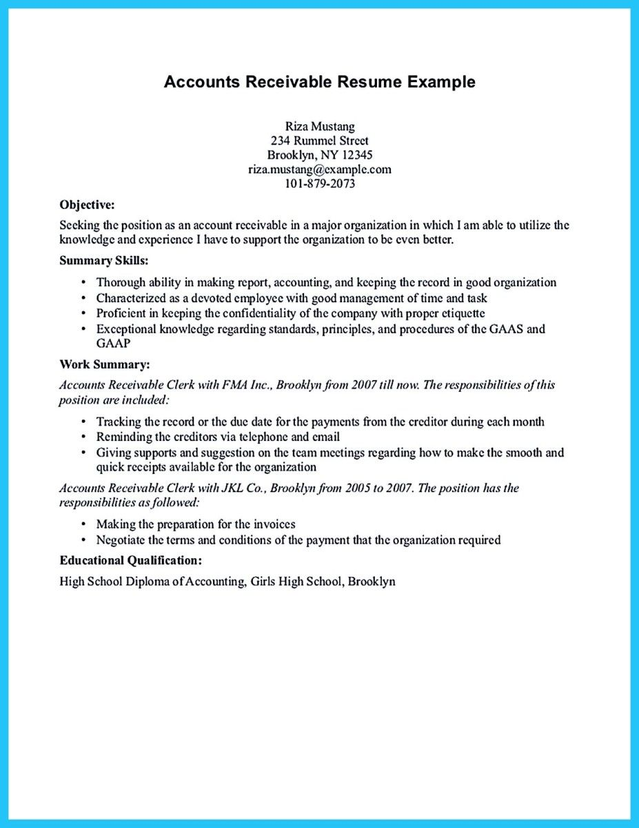 Accounts Receivable Resume Resume And Accounts Receivable Samples Clerk Example Writing