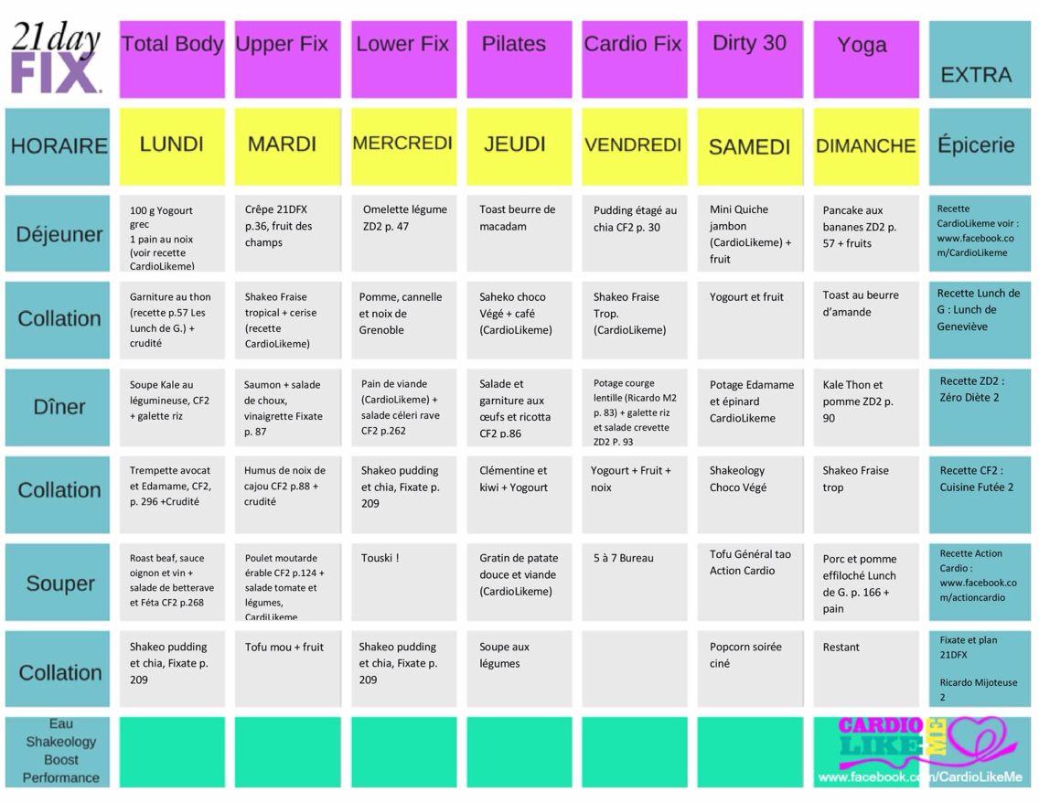 Idée Menu DiéTéTique 21 Day Fix Idée menu santé pour 7 jours avec indication de