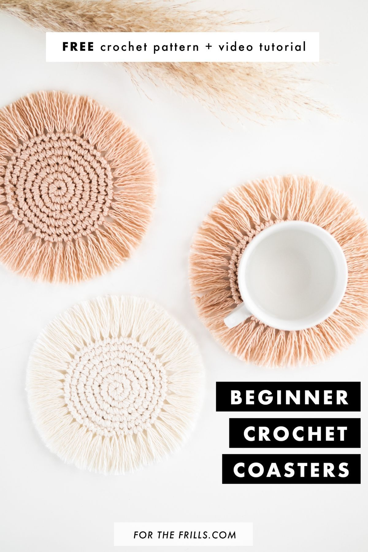 Up your summer home décor game with these boho crochet coasters. Quick and easy to make, these simple crochet coasters have fringe to create  a fun boho feel! The free crochet pattern has a step-by-step video tutorial so these boho crochet coasters are a great DIY project for crochet beginners! #boho #easycrochet #crochetcoaster #bohocoaster #freepattern