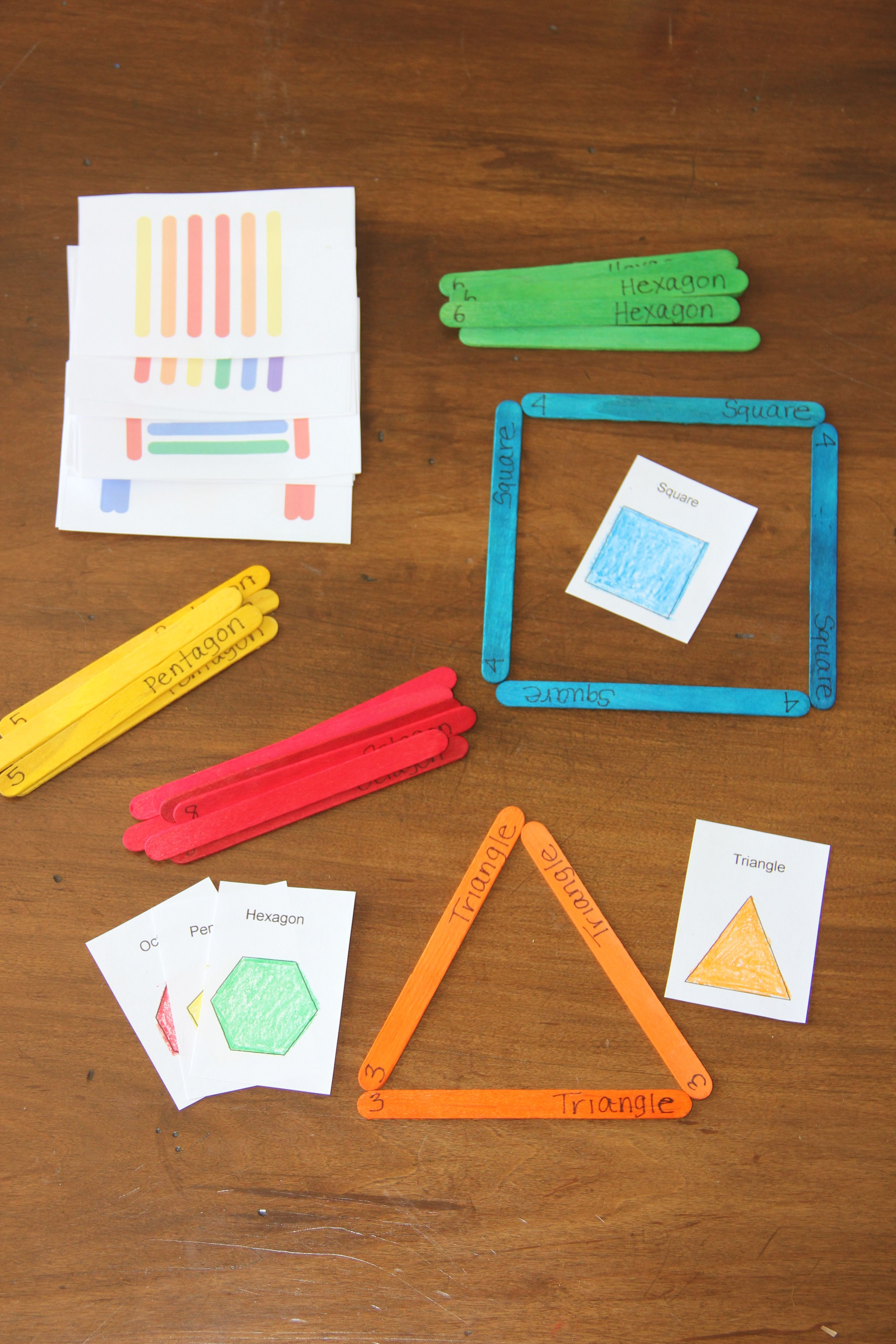 Colored Popsicle Sticks To Practice Forming Shapes And
