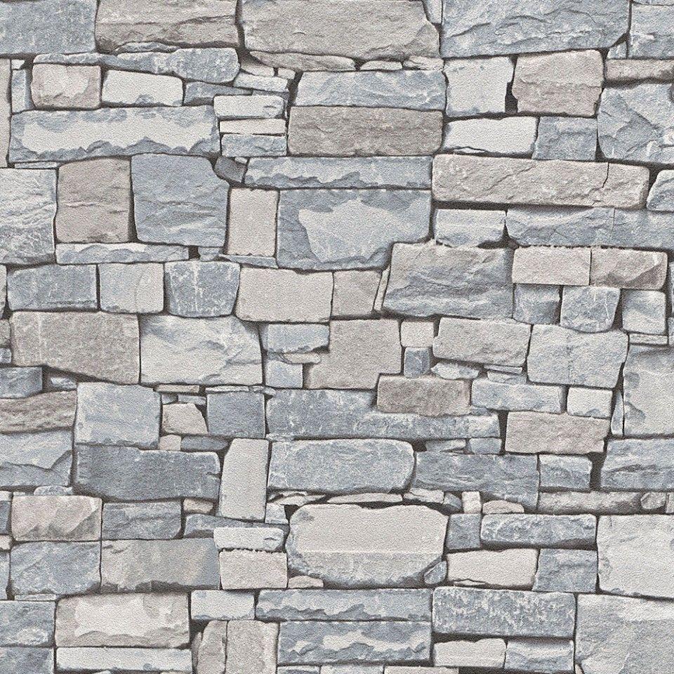 Papel pintado imitaci n piedra tonos gris y beige for Plaqueta imitacion piedra para exterior