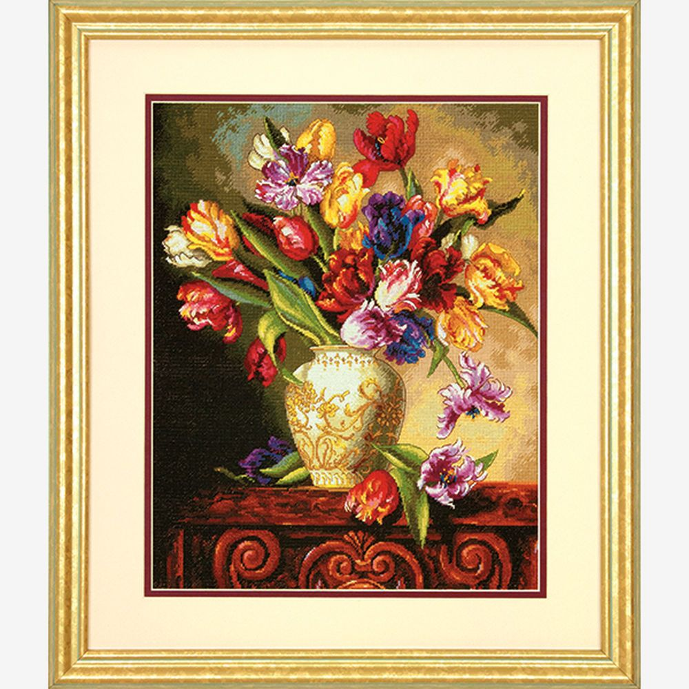 "Dimensions Gold Collection Parrot Tulips Counted Cross Stitch Kit-12/""X15/"" 18 Cou"