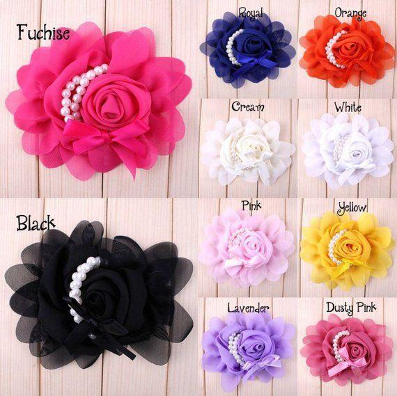 30% off Chiffon flowers, Kids Hair Flower Accessories, Chiffon Rose Flower, rose flower with pearls, DIY hair accessories,10per color,HEA-16 #kidshairaccessories