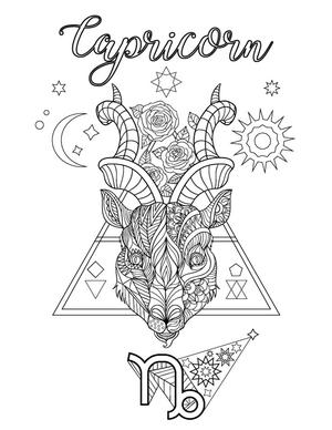 Capricorn coloring page color zodiac magic pinterest for Capricorn coloring pages