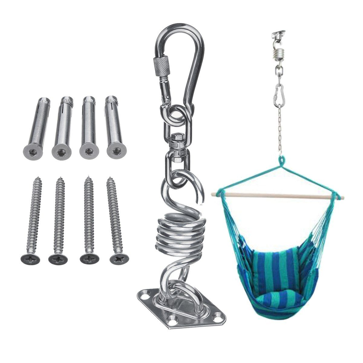 Stainless Steel Hammock Chair Hanging Kit Ceiling Mount Spring Swivel Snap Hook Accessories Hammock Chair Hammock Hammock Accessories