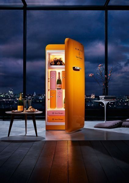 fancy veuve clicquot fridge by smeg why would you want this in silver orange is the. Black Bedroom Furniture Sets. Home Design Ideas