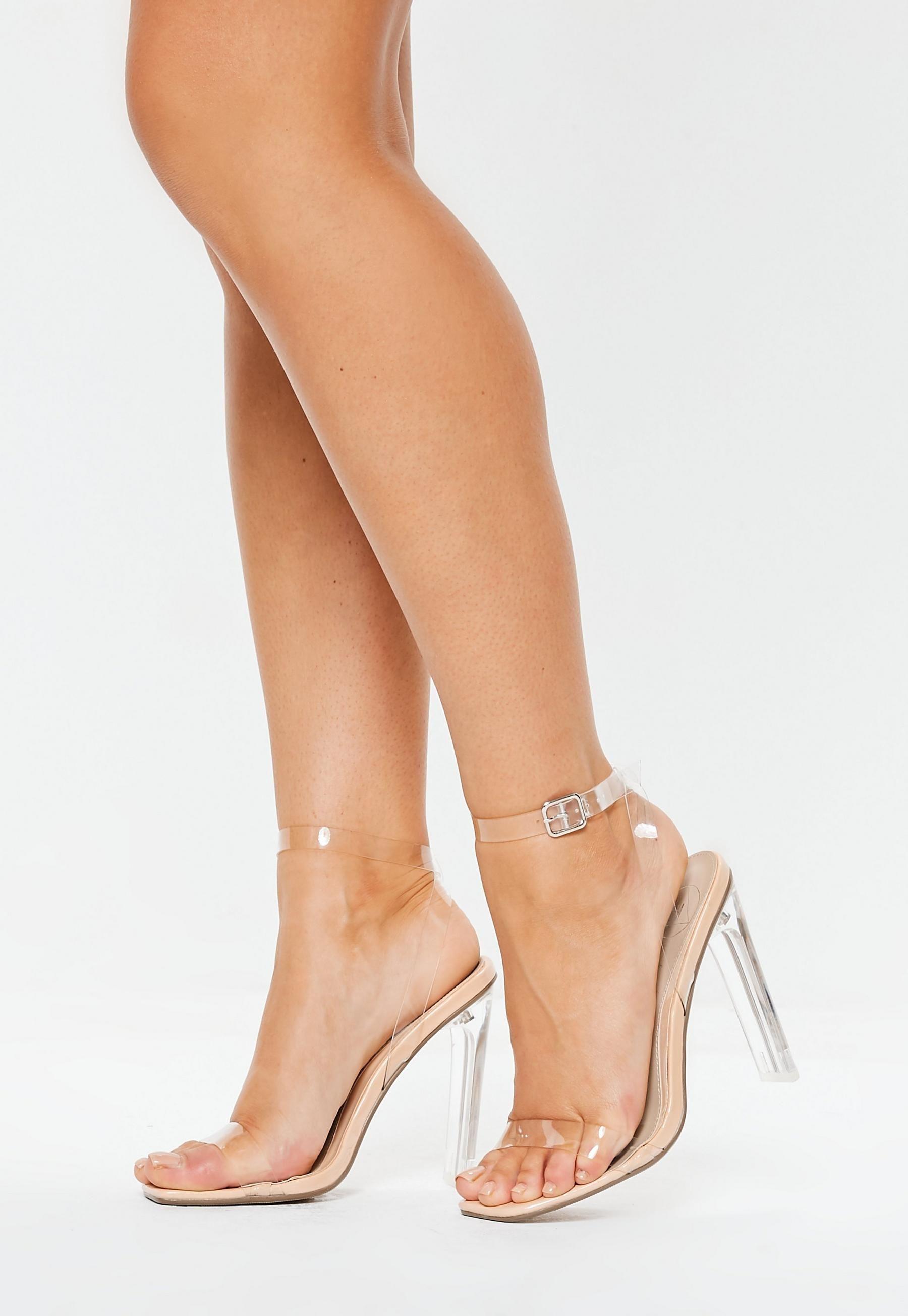 8c60448e271 Nude Square Toe Clear Heels