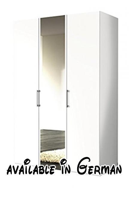B015CP9QZM  Express Möbel Kleiderschrank 3-türig mit Spiegel 150 cm - schlafzimmerschrank weiß hochglanz