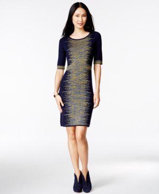 Spense Petite Space-Dye Elbow-Sleeve Sweater Dress