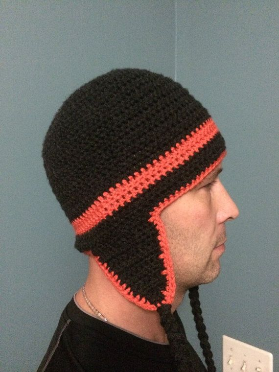 Crochet Mens Earflap Hat done in Black with Orange by LoopedByLaws ...