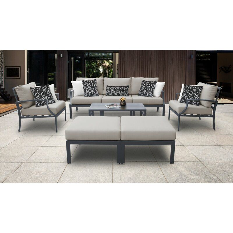 Ivy Bronx Benner Outdoor 8 Piece Sectional Seating Group With Cushions Reviews Wayfair In 2020 Aluminum Patio Furniture Seating Groups Patio Furniture Sets
