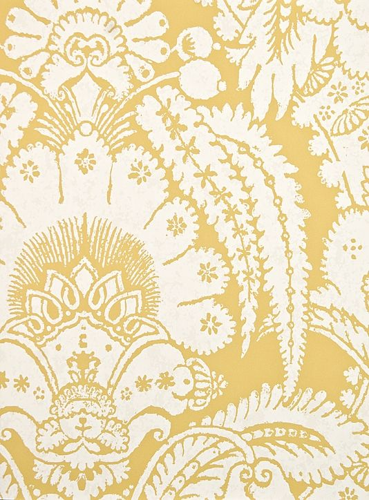 Mustard Design Wallpaper : Chatterton damask wallpaper vibrant mustard yellow paper