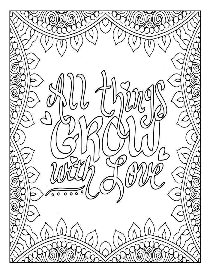 Motivational word art coloring page inspirational love for Love mandala coloring pages