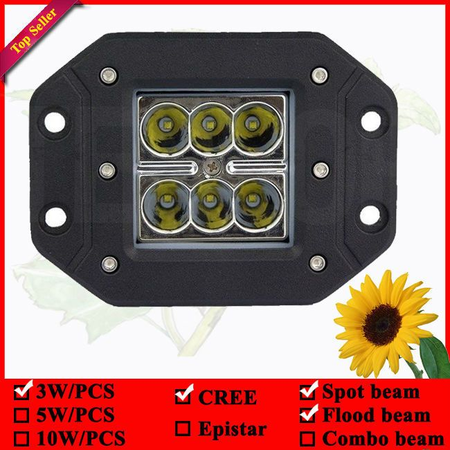 12 Volt Automotive Led Lights 18w Flush Mount Led Work Lights For Car 6pcs 3w Led Flush Mount Lamp 3x3 Pod Automotive Led Lights Led Work Light Led Flush Mount