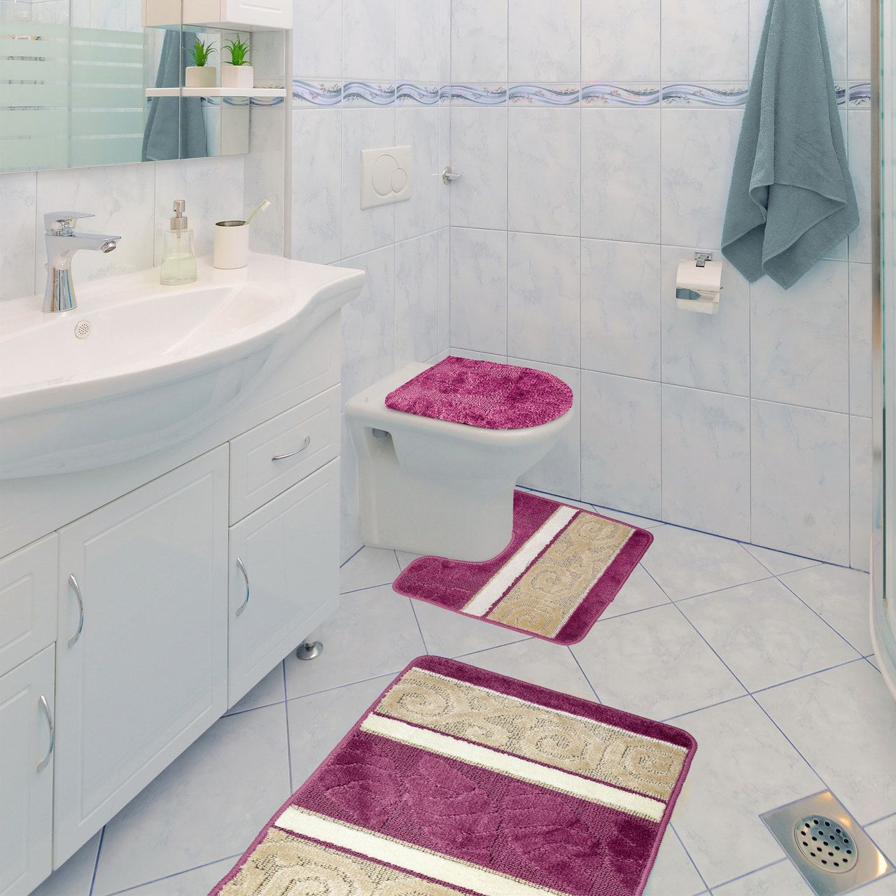 Scroll 3 Piece Bathroom Rug Set Bath Rug Contour Rug Lid Cover