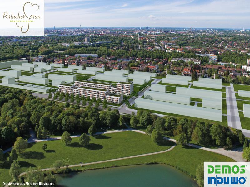 Luftbild mit Einspiegelung - Perlacher Grün Demos Wohnbau #PerlacherGrün #Illustration #Visualisierung #Architektur #Neubau #Neubauprojekt #Eigentumswohnungen #Altperlach #München #Luftbild