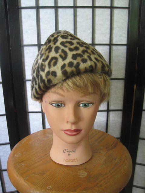 a2e836541d1bf Vintage 1940s 1950s Hat Faux Leopard Beret Pointed Hat Fake Faux Fur ...