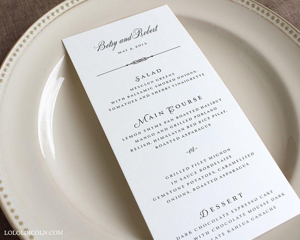 Classic Wedding Menus  Google Search  Cakes