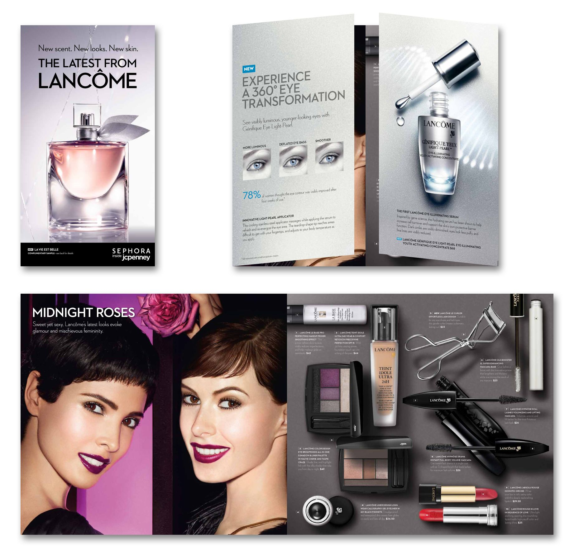 Sephora inside JCPenney direct mail (Fall 2012). Creative Director: Jacki Puzik #beauty #lancome #lavieestbelle