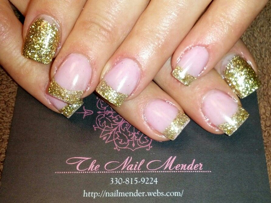 Extreme bling acrylic nails with gold glitter tip french mani with ...