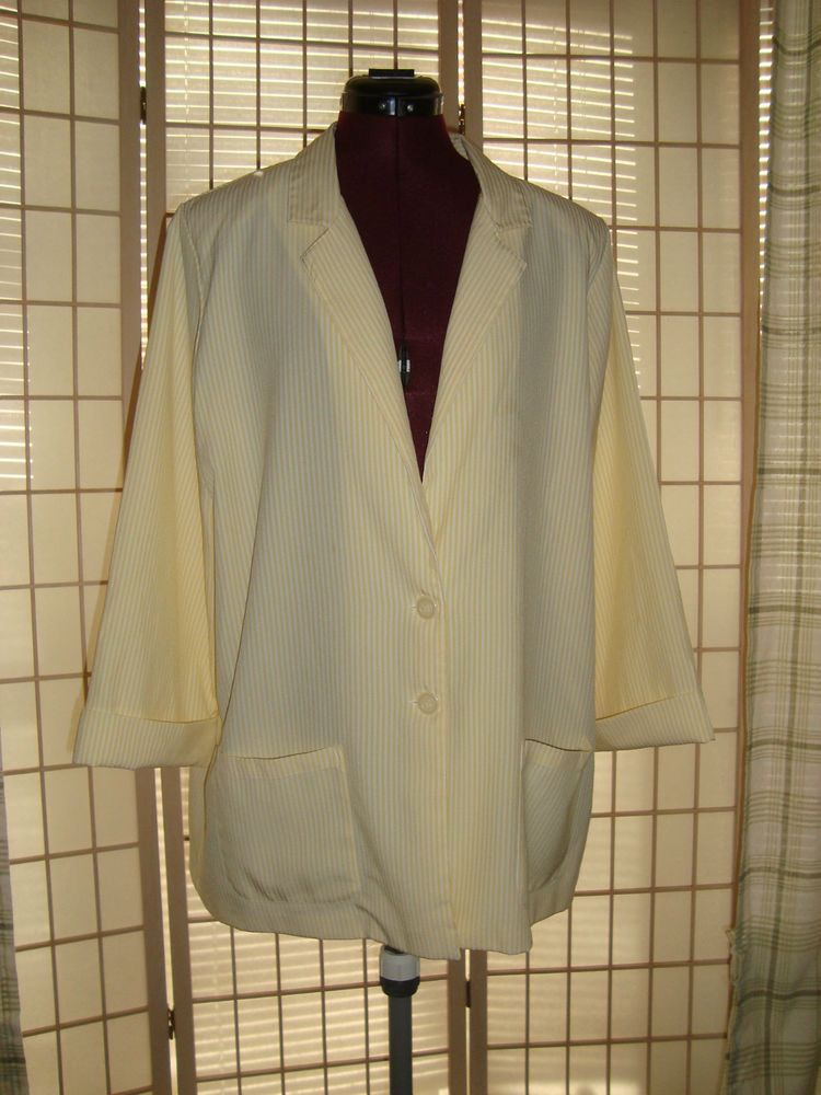 BonWorth Sz M Women's Lemon Yellow Striped Blazer Jacket W/ Pockets #BonWorth #Blazer