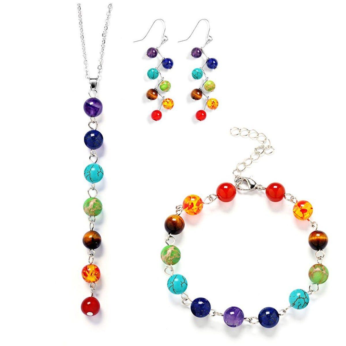 7 Chakra Quartz Stone Bead Pendant Necklace Healing Yoga Reiki Balancing Jewelry