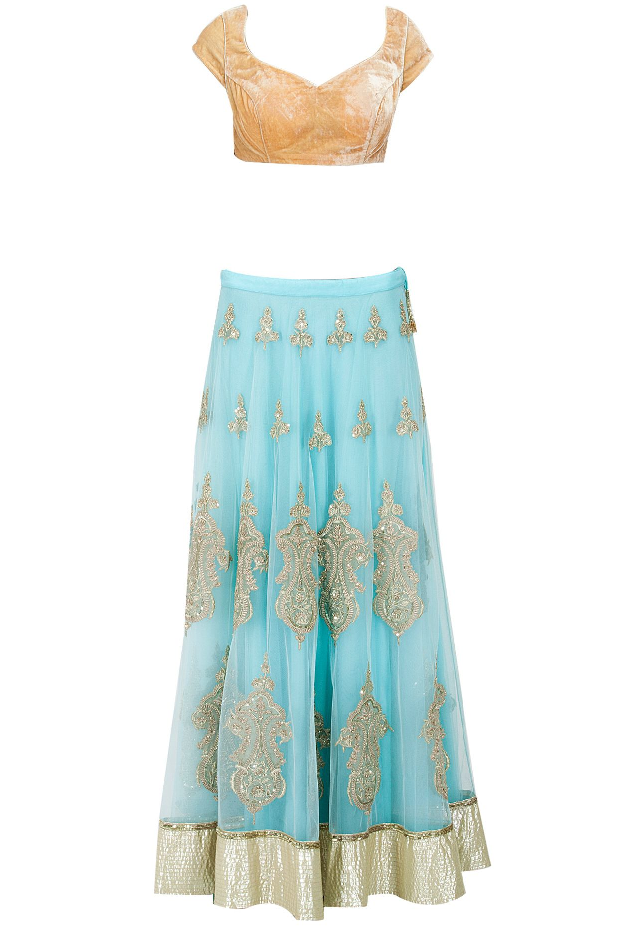 Blue gota applique lehenga with orange blouse available only at Pernia's Pop-Up Shop