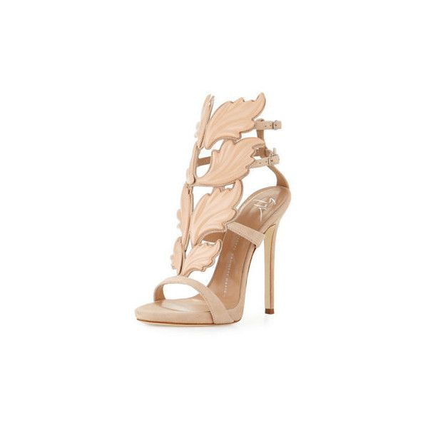 70d20a0a89d2a Giuseppe Zanotti Coline Wings Suede 110mm Sandal ($1,595) ❤ liked on  Polyvore featuring shoes