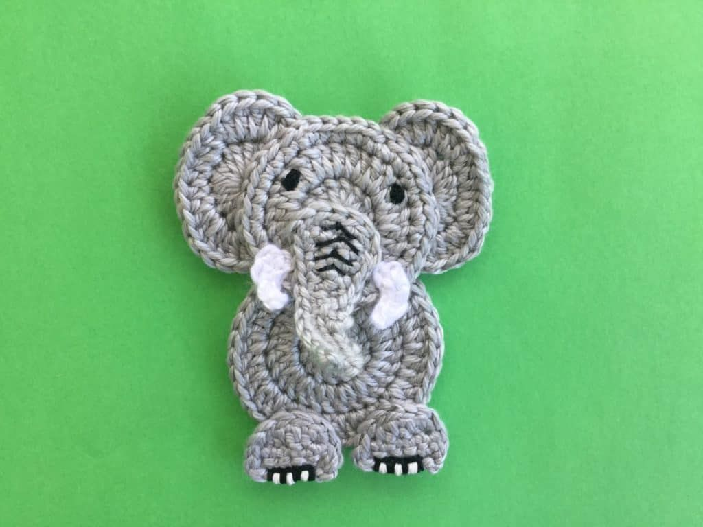 Easy Elephant Crochet Applique Pattern #crochetelephantpattern Get this free crochet pattern of an easy crochet elephant. This and many other crochet animals are available on my website, Kerri's Crochet. #crochetelephantpattern
