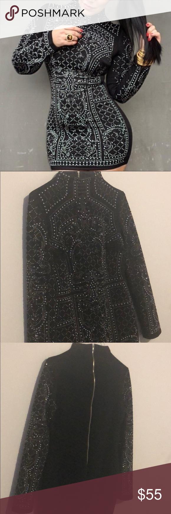 Black diamond embellished stretchy dress boutique my posh closet