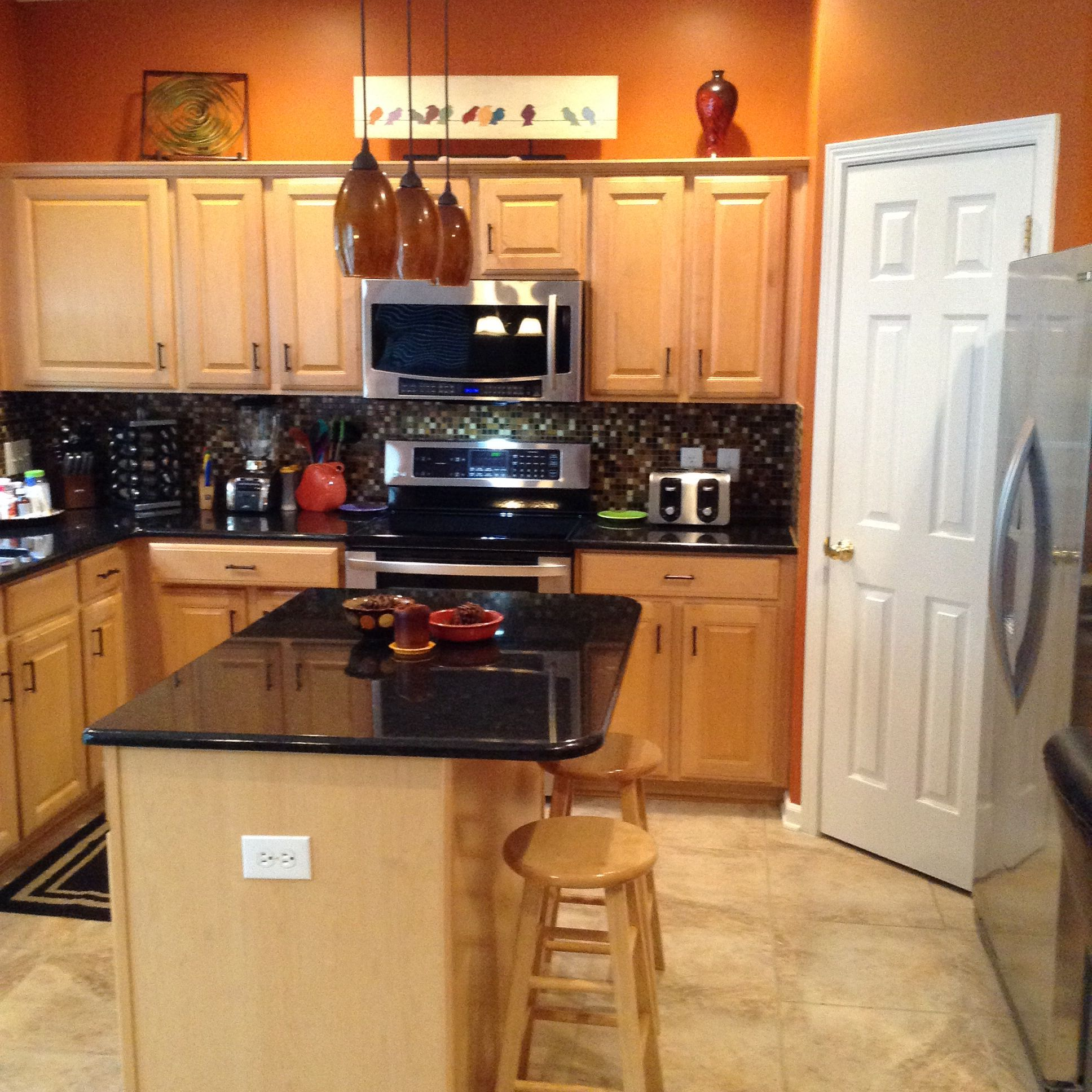 Burnt Orange Kitchen With New Tile Flooring Orange Kitchen Walls Orange Kitchen Decor Kitchen Decor