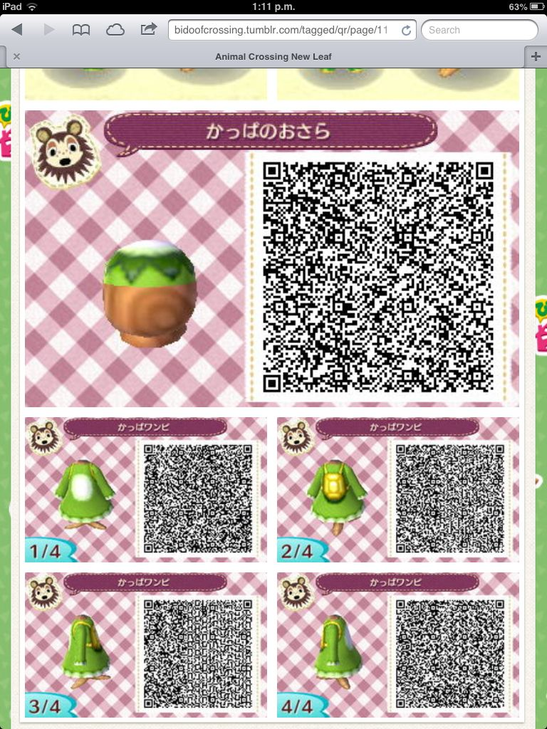 Kappa Hat And Outfit Animal Crossing Animal Crossing Qr New Leaf