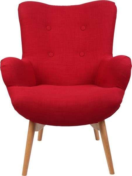 Armlehnstuhl, Stoff rot, Schaumstoff Holzfüsse max Belastbarkeit - bilder wohnzimmer rot