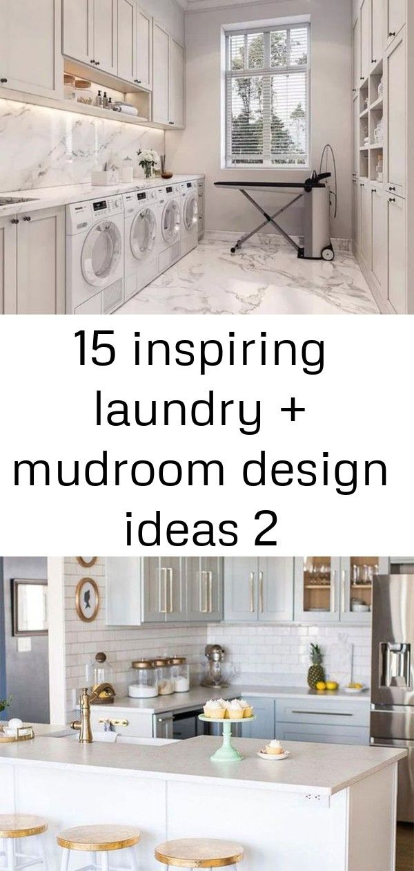 15 inspiring laundry  mudroom design ideas 2 15 Inspiring Laundry  Mudroom Design Ideas  White marble laundry room dual washer dryer How To Extend Your Cabinets To The Ce...