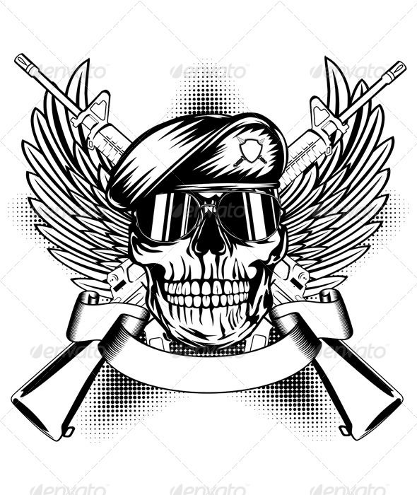 Cool Skull Logos With Guns Skull in Beret ...