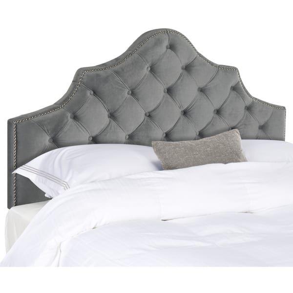 Safavieh Arebelle Pewter Velvet Upholstered Tufted Headboard ...