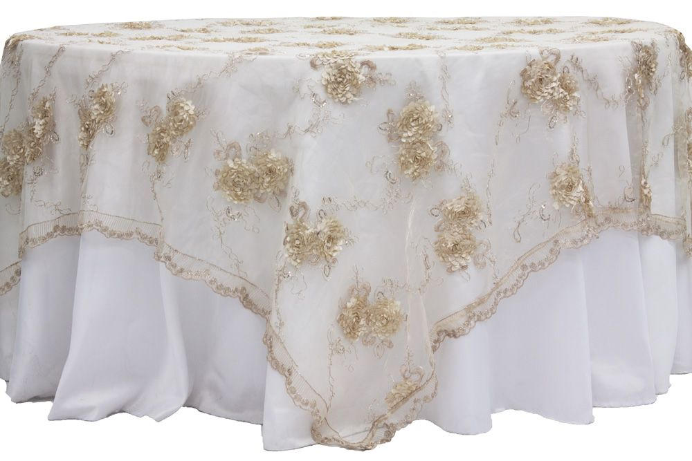 Vintage Veil Embroidery 90 X90 Square Table Overlay Topper