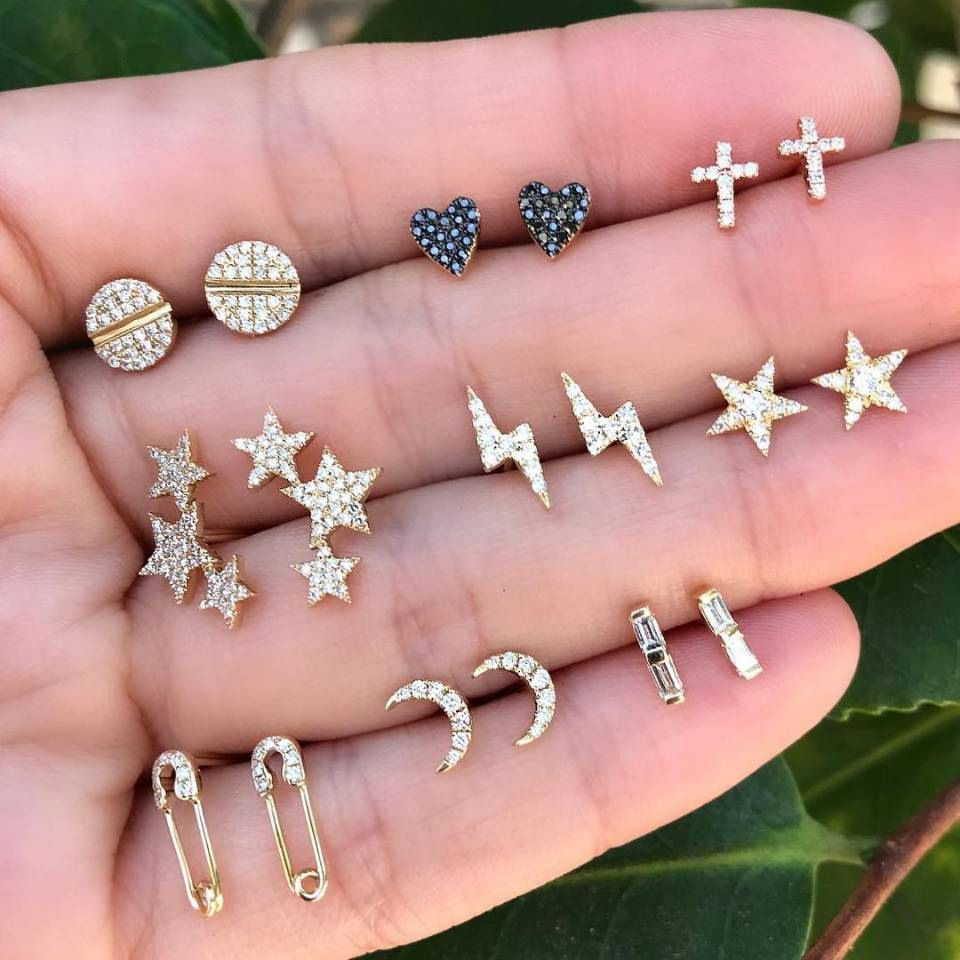 Crystal Moon Star Lightning Earrings Set Rhinestone Gold Color Cross Heart Round Hollow Pin Stud Earring Women Jewelry 9 Pairs Metal Color Gold-color