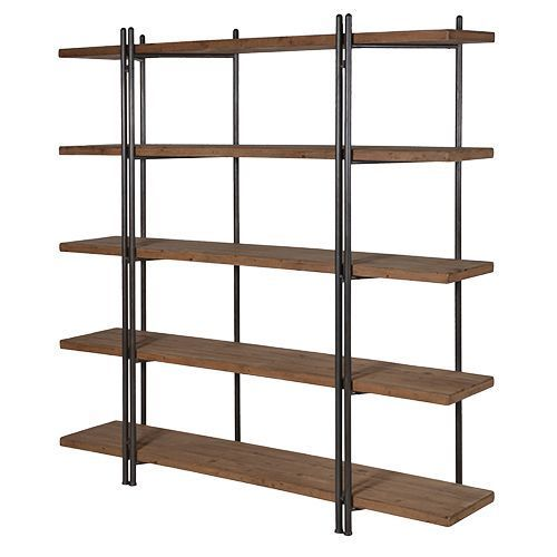 low priced 4c2ff de05f Large Industrial 5 Wooden Shelf Bookcase Storage Unit with ...