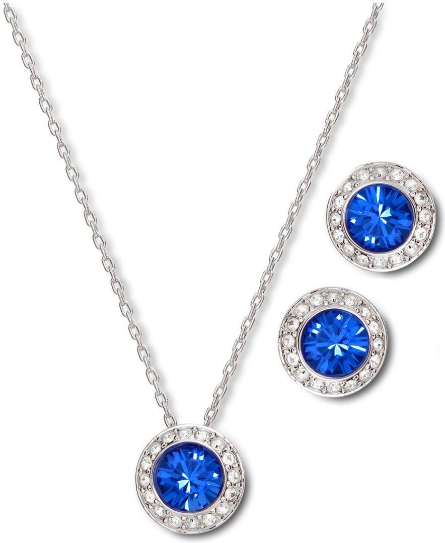 7f86ede37 Shop Swarovski Jewelry Set, Angelic Sapphire Earrings and Pendant Set  online at Macys.com.