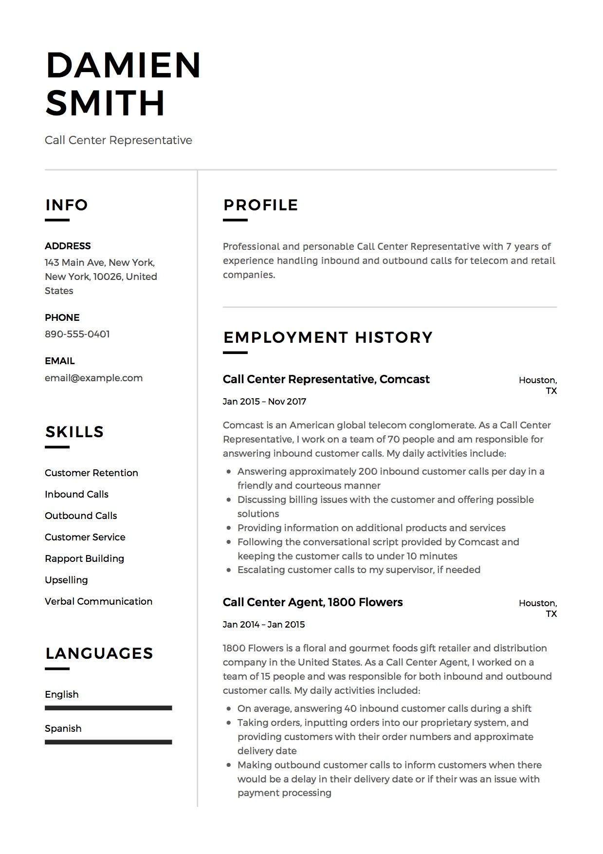 Call Center Resume Template Call Center Representative Resume Sample Template Example Cv