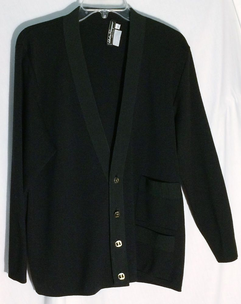 SALVATORE FERRAGAMO Wool Black Cardigan Sweater-Grosgrain Trim ...