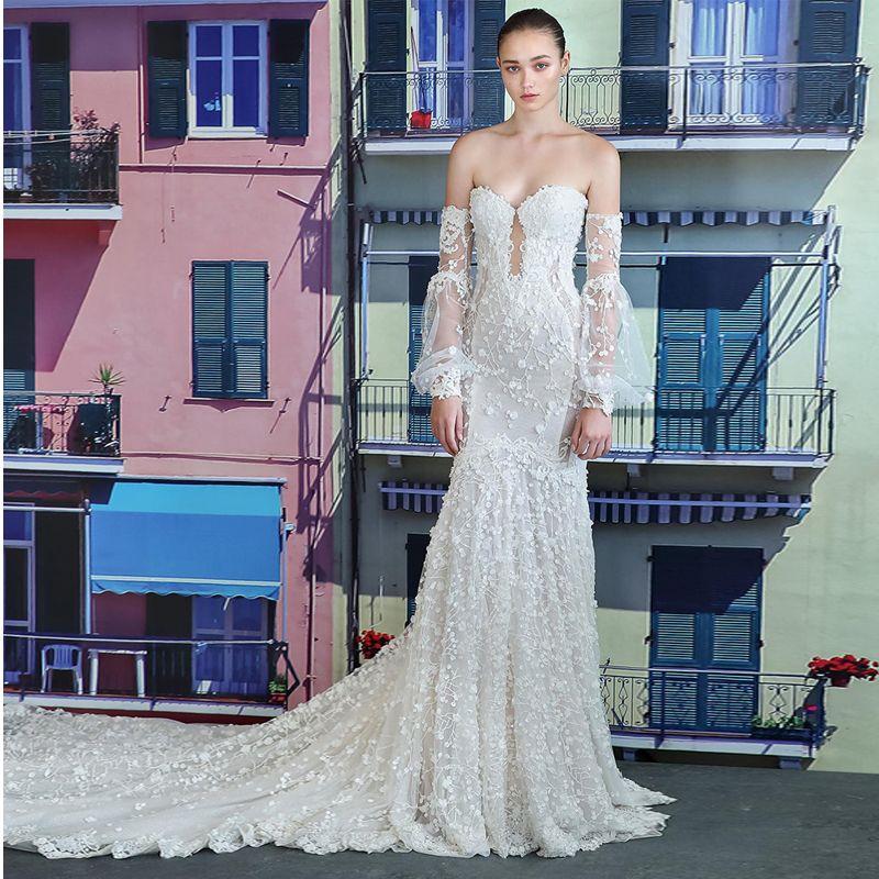 Boho Light Princess Puff Sleeve mermaid Wedding Dress 2019