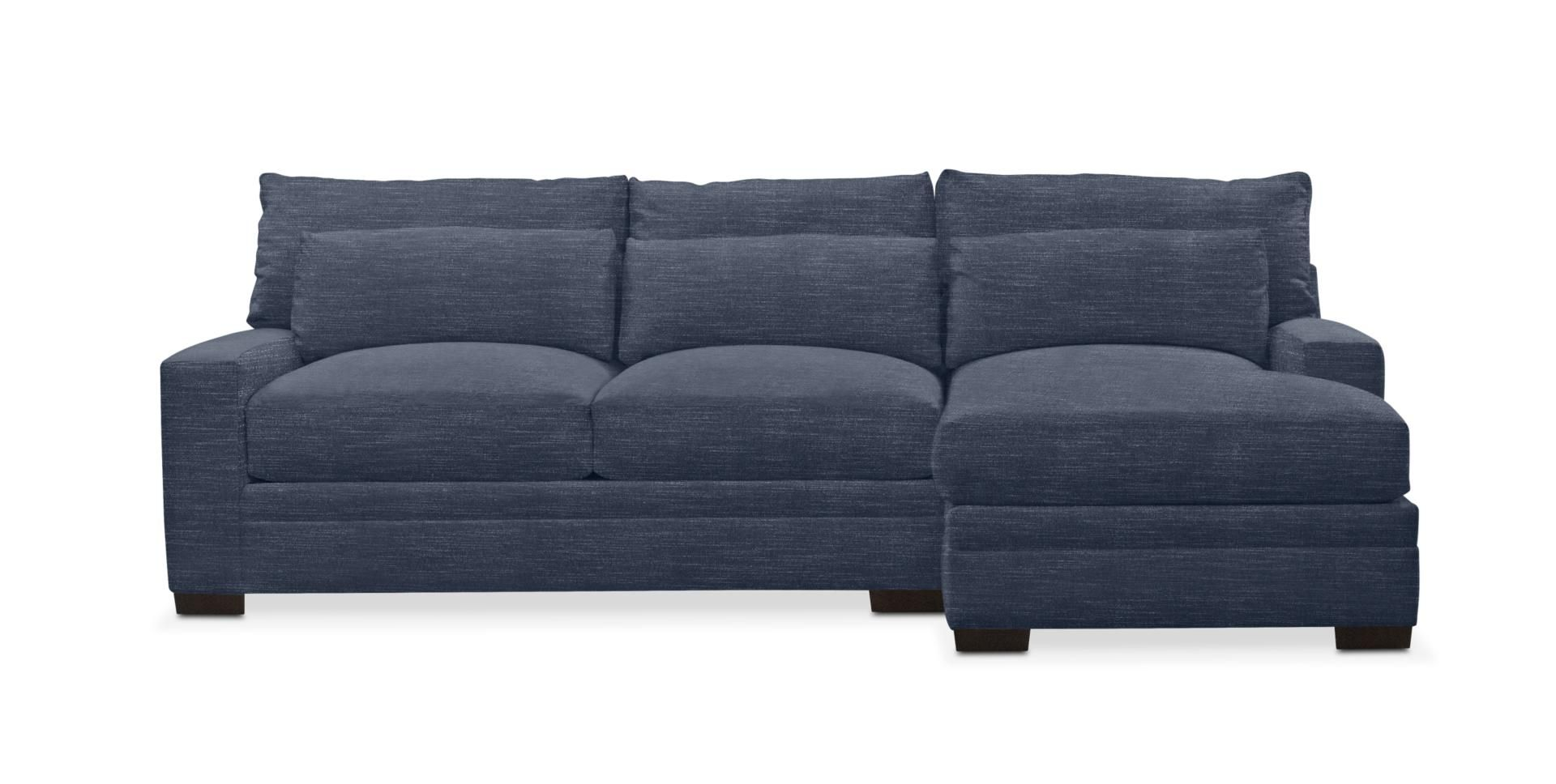 Designer Looks Winston Cumulus 2 Piece Sectional Sofa With Right Facing Chaise Curious Eclipse Blue 2 Piece Sectional Sofa Value City Furniture Living Room Seating