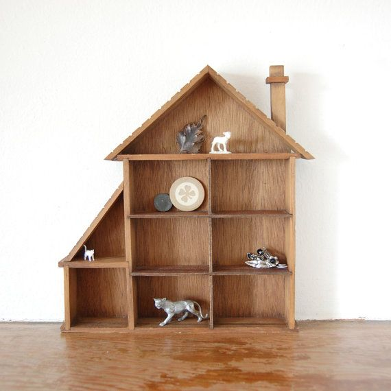 House Shaped Wooden Shadow Box Small Wood Cubby Shelf Wooden Shadow Box Wooden Projects Shadow Box