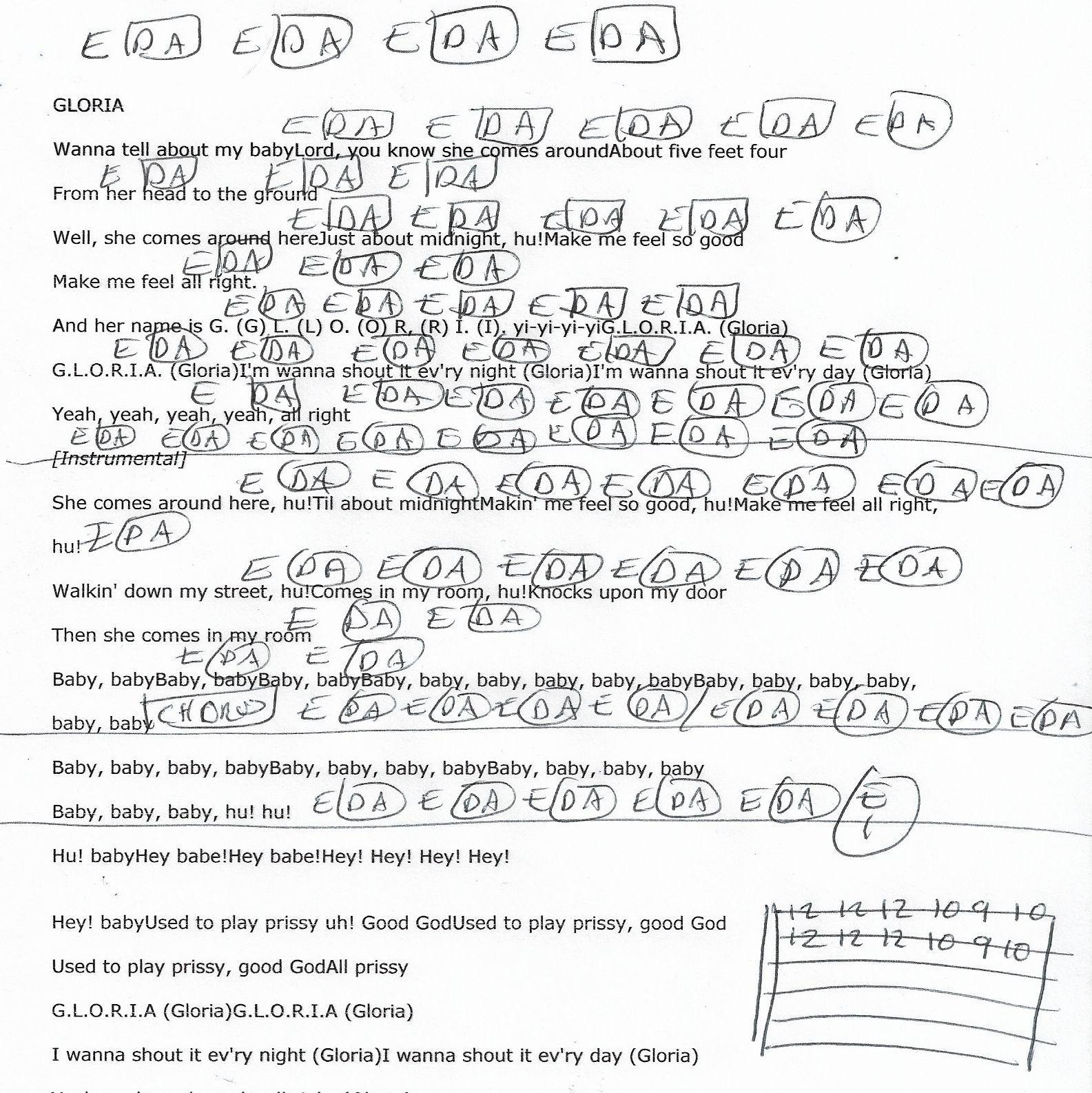 Gloria Van Morrison Guitar Chord Chart 2018 Guitar Lesson