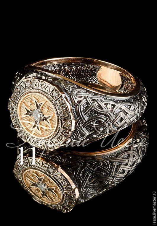 на фото: кольцо из розового золота 585 пробы, черное ...