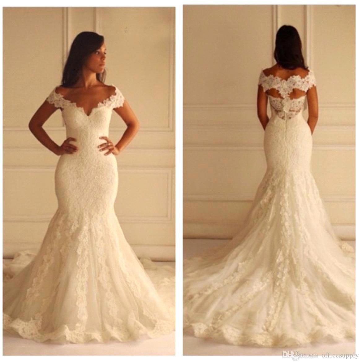 new arabic lace mermaid wedding dresses with v neck capped